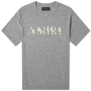 Amiri Floral Tee Gray Men's Size Small